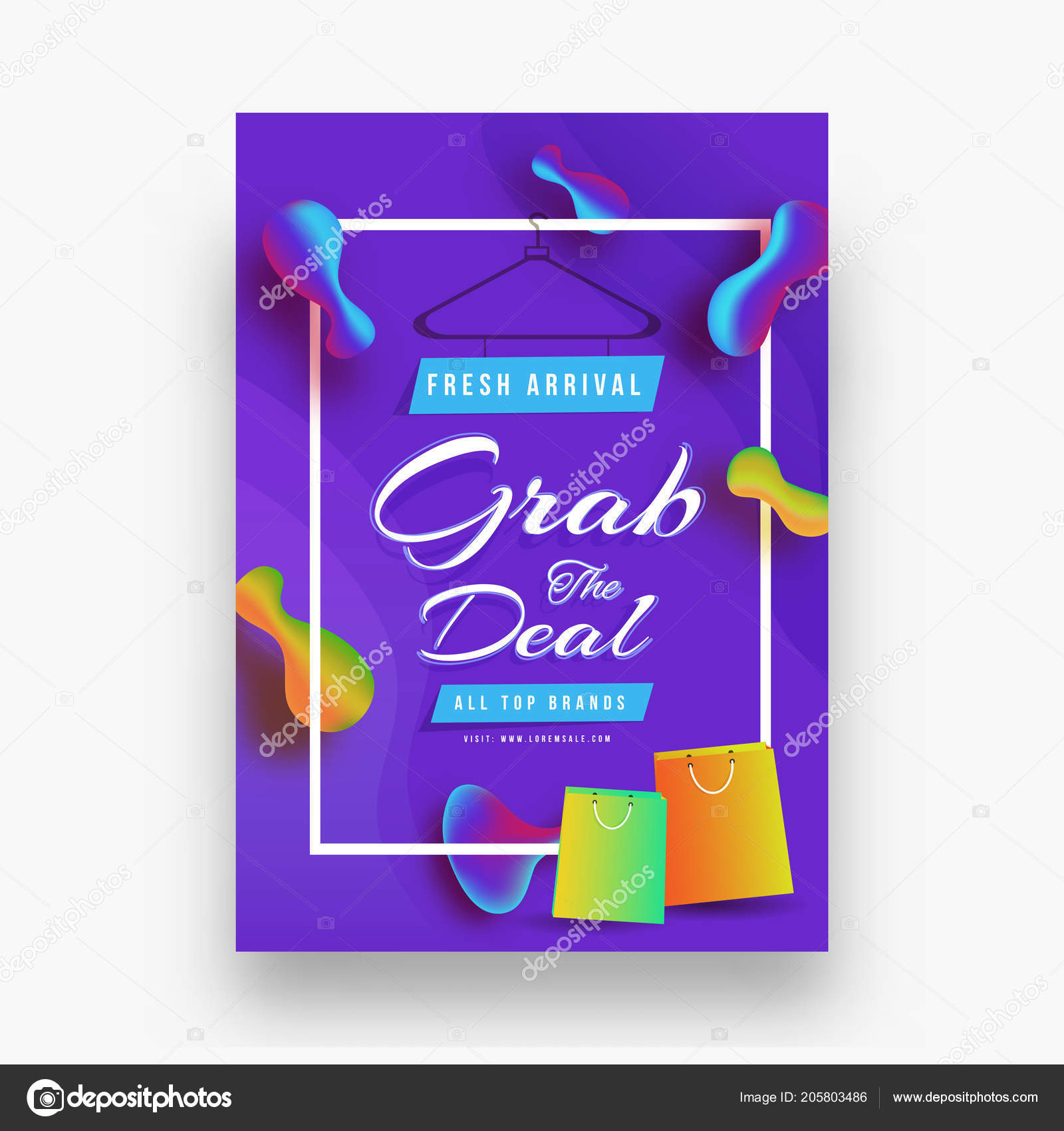 grab deal sale template flyer design shopping bags shiny blue