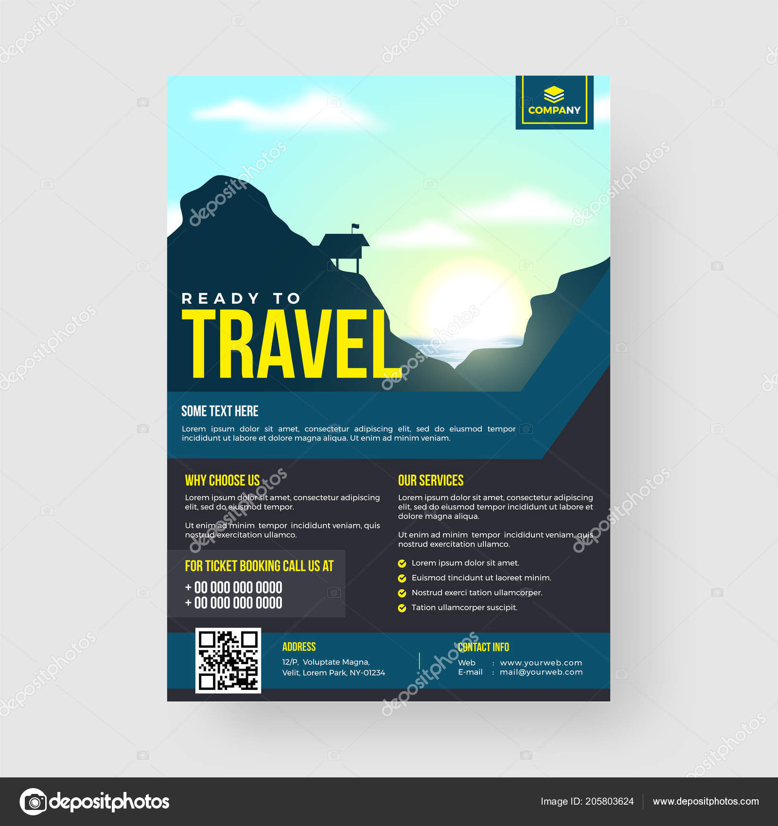 travel template flyer design venue contact details ストック