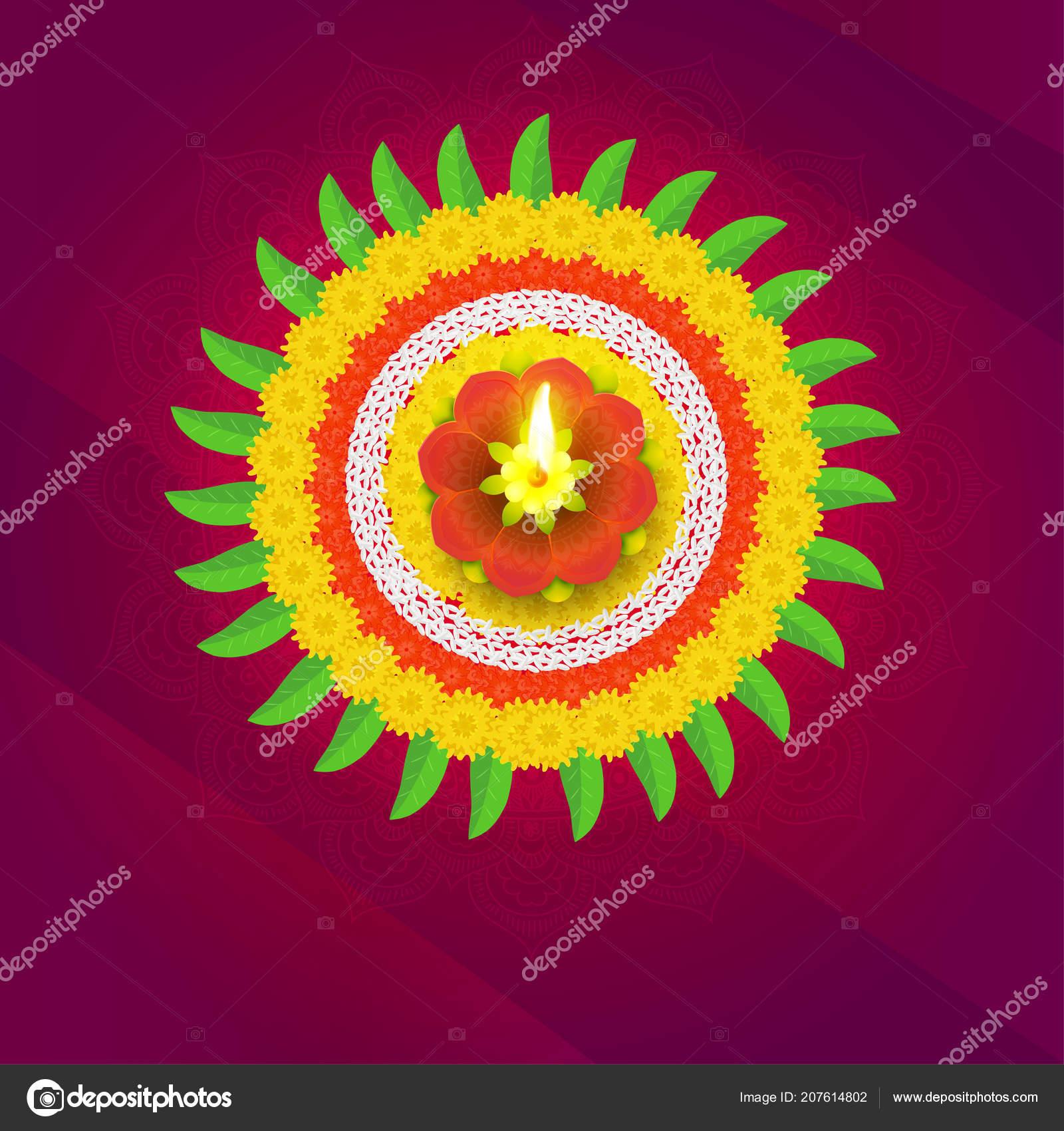 Beautiful Rangoli Design Made Flowers Mango Leaves Illuminated