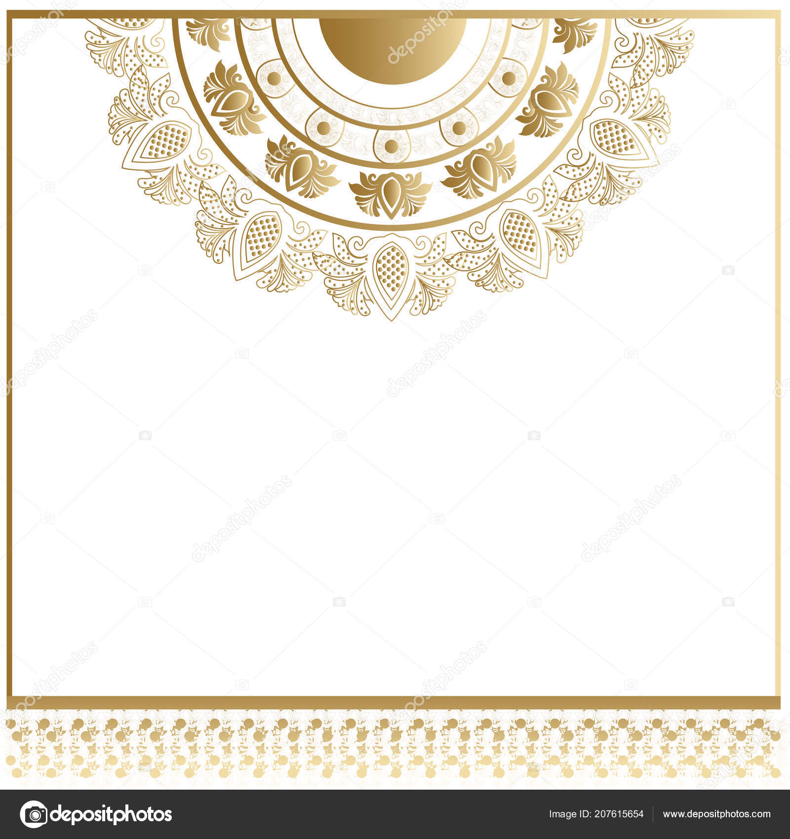 Invitation Card Template Glossy Golden Doily Pattern Mandala