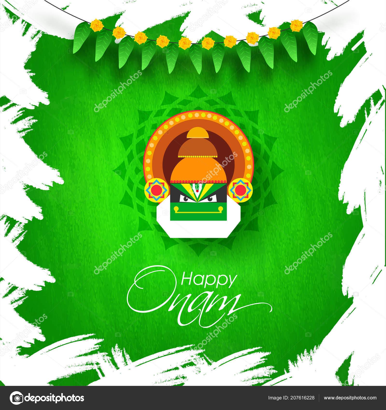 Happy Onam Greeting Card Design Illustration Kathakali Dancer Face