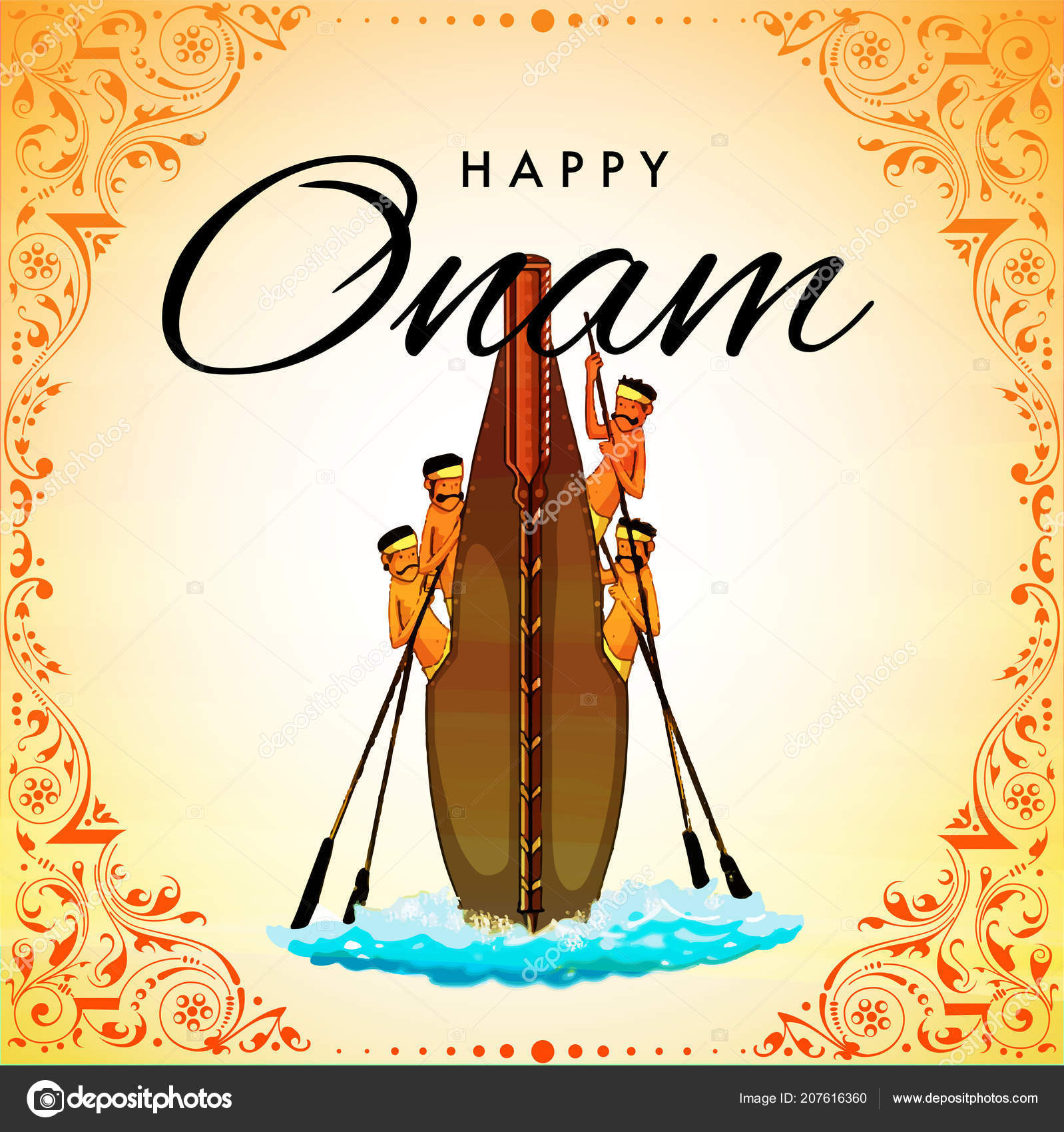 Beautiful Greeting Card Design Onam Festival Celebration
