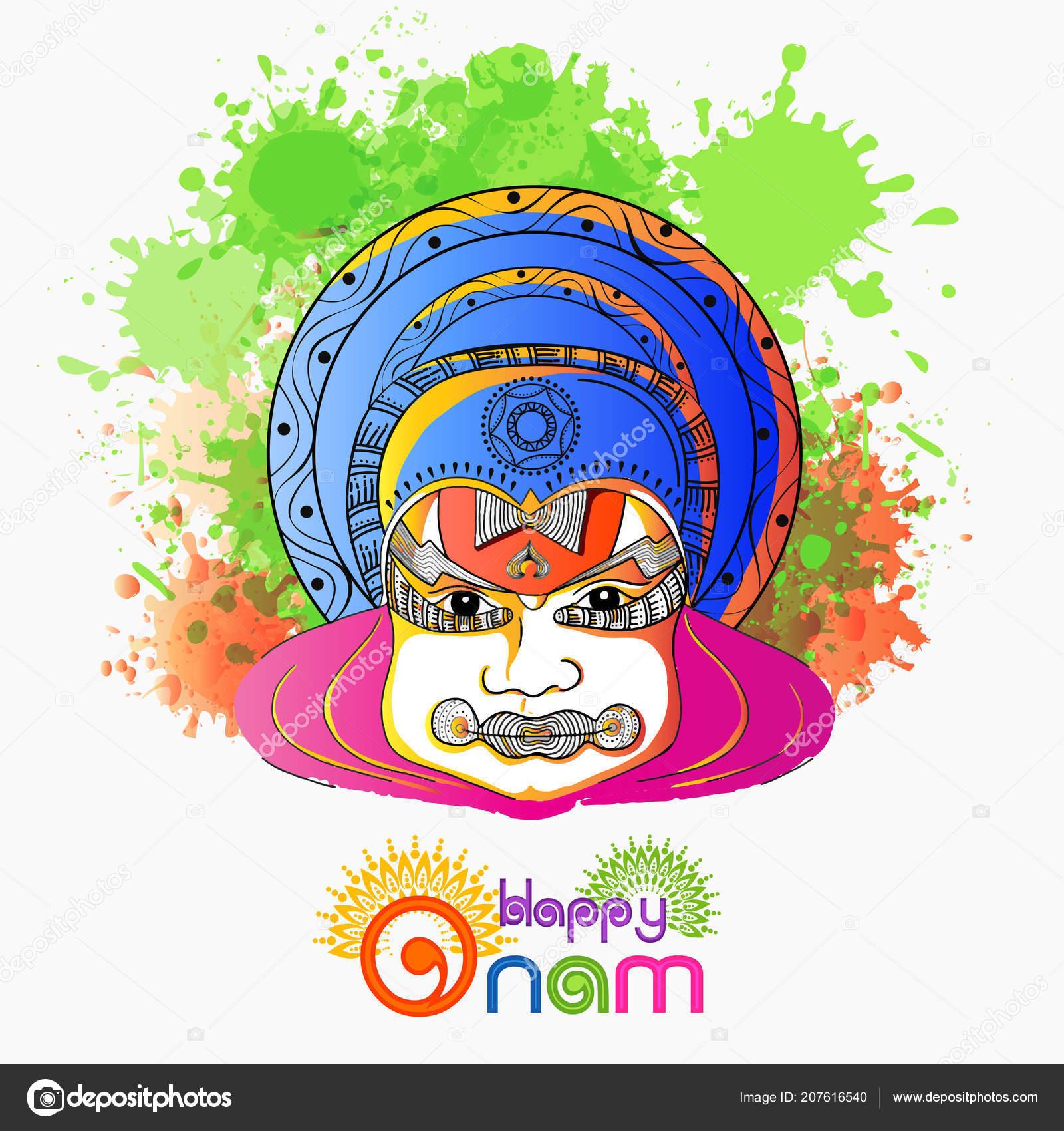 Doodle Illustration Kathakali Dancer Face Abstract Color