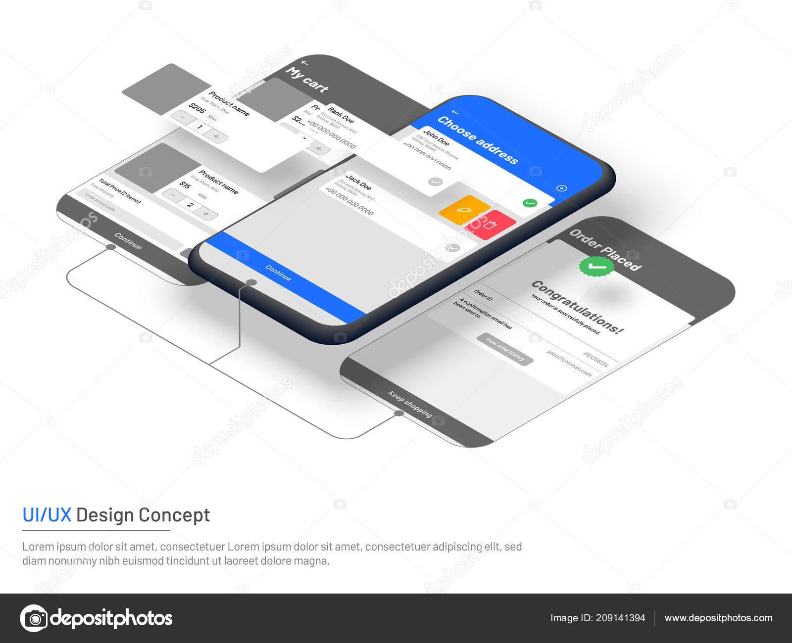 Website Wireframe Commerce Isometric Illustration Smartphone