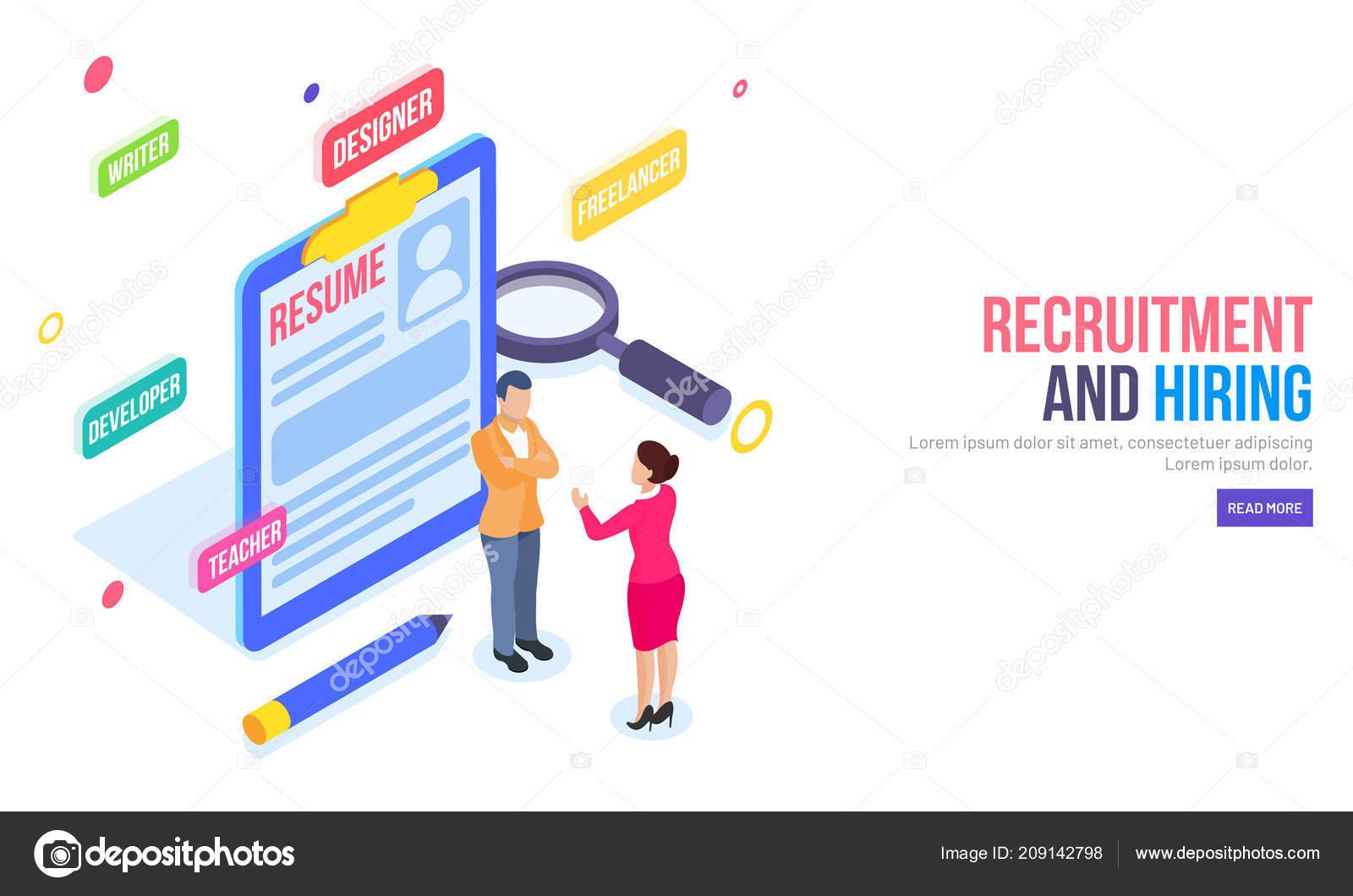 Isometric Illustration Resume Employer Discuss Hiring Process