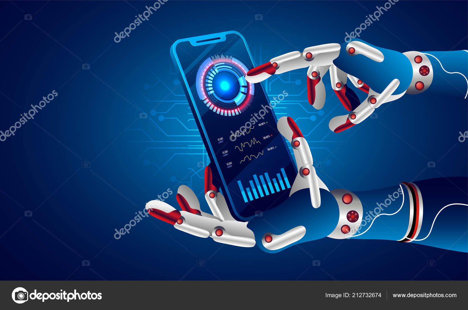 Future Concept Artificial Intelligence Virtual World Robotic Hand