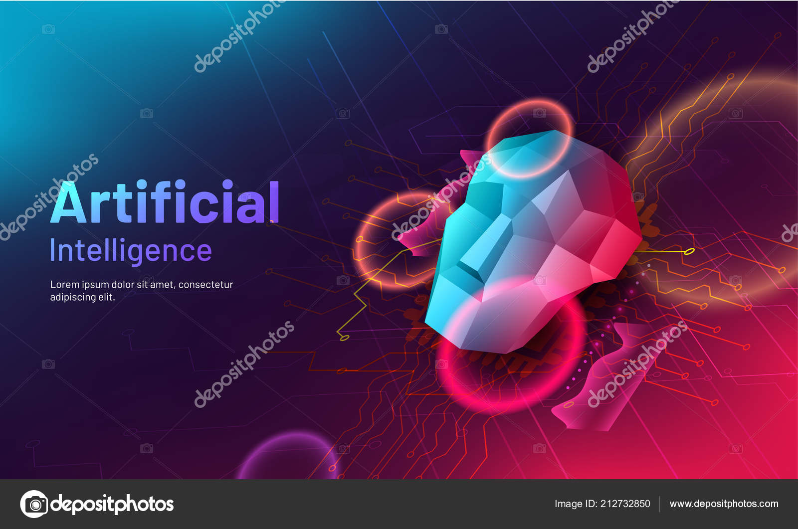 Artificial Intelligence Responsive Web Template Design Lowpoly