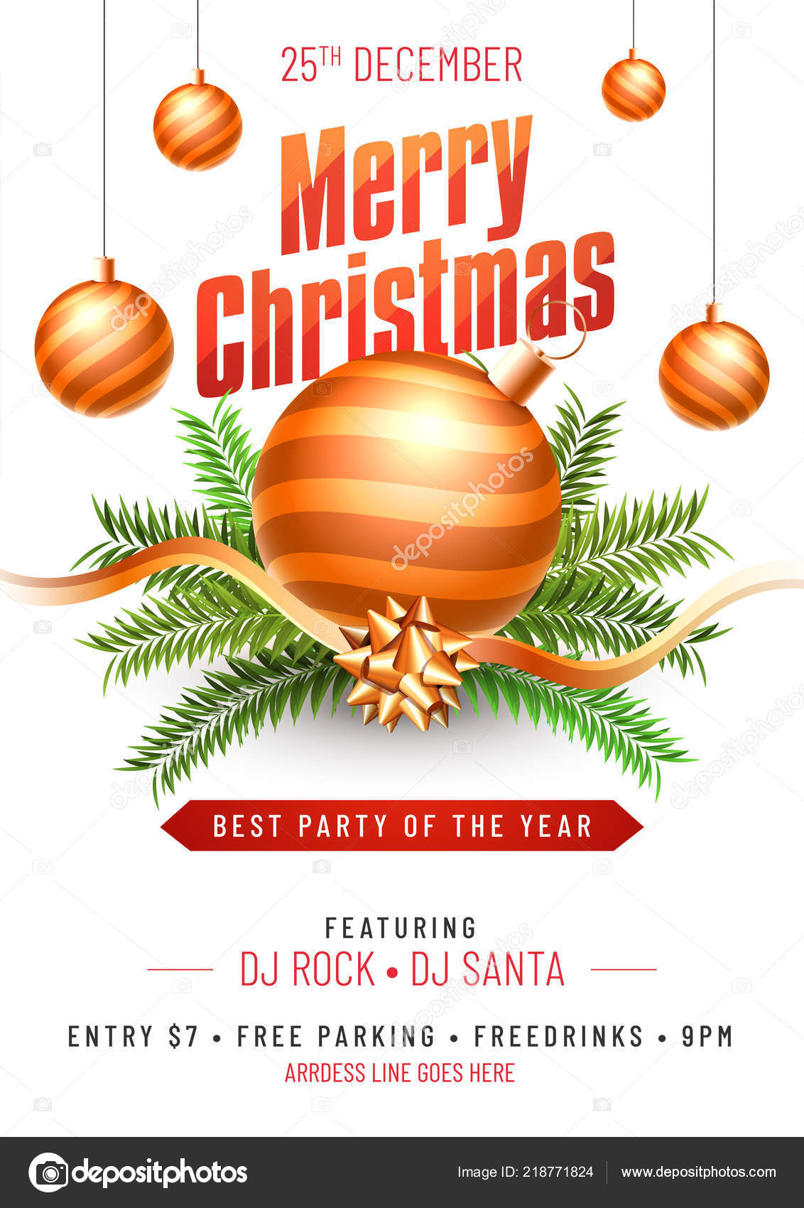 party template flyer design decorated christmas ornaments decorative