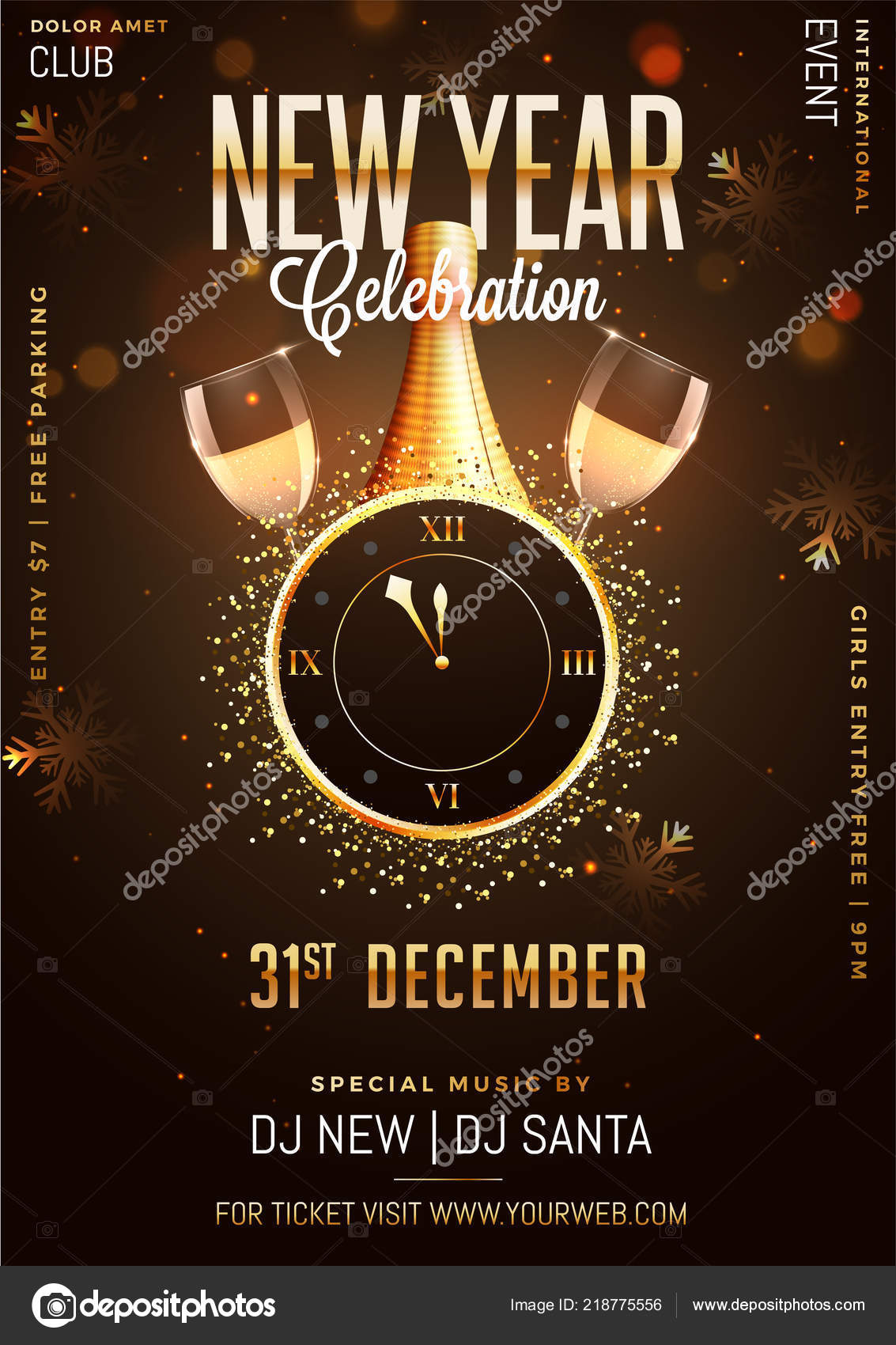 new year celebration template design wall clock champagne bottle glass stock vector