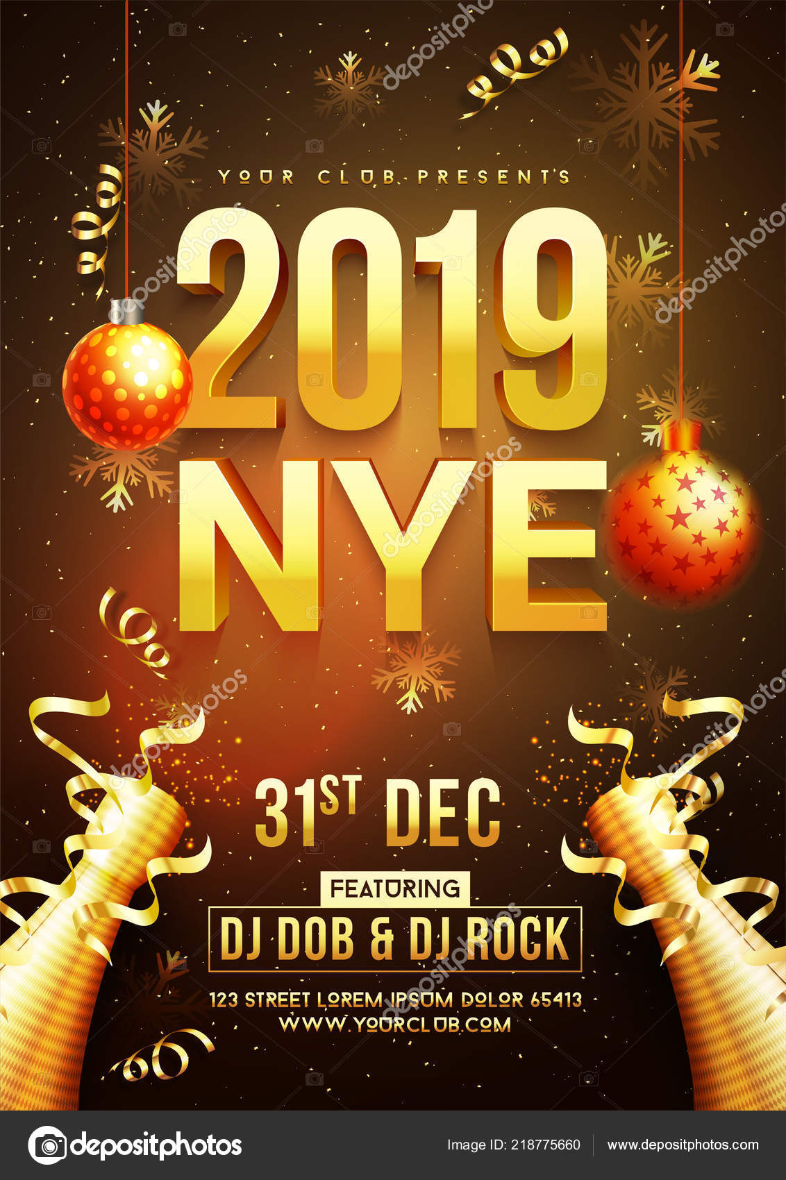 new year celebration template flyer design text 2019 decorative bauble stock vector