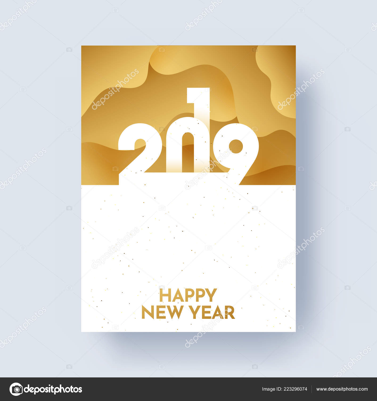 2019 Happy New Year Greeting Card Design Space Your Message Stock