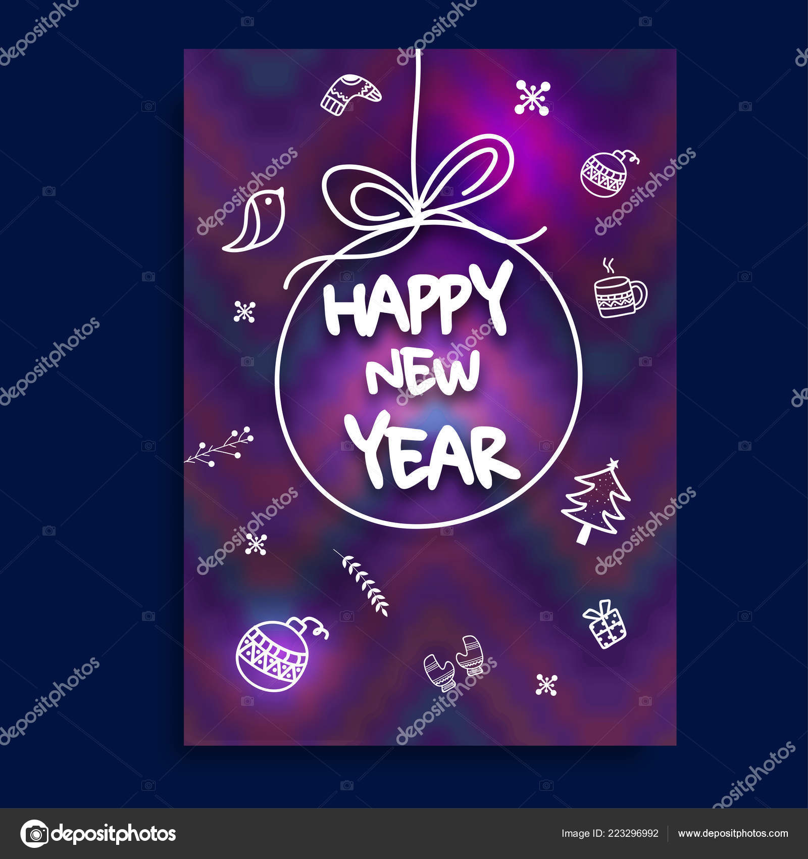 doodle elements decorated purple greeting card design for happy new year celebration vector by alliesinteract