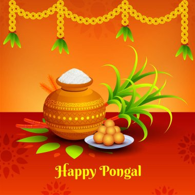 Happy Pongal banner or poster design with traditional pot, sugarcane and sweets on shiny floral background decorated with flower garlands.