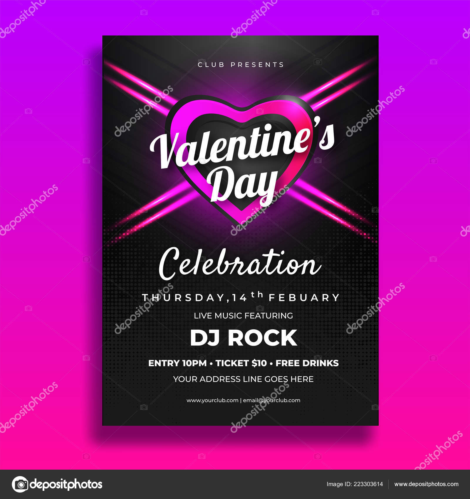 Valentines Day Party Invitation Card Template Design Date