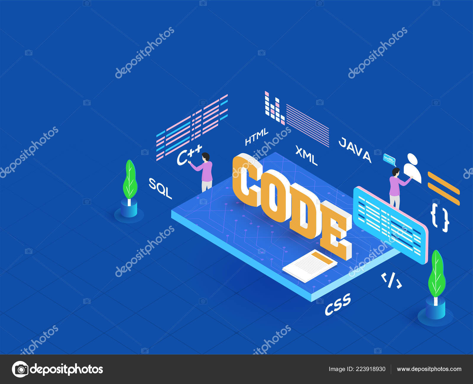 Text Code Miniature Developers Working Different Projects