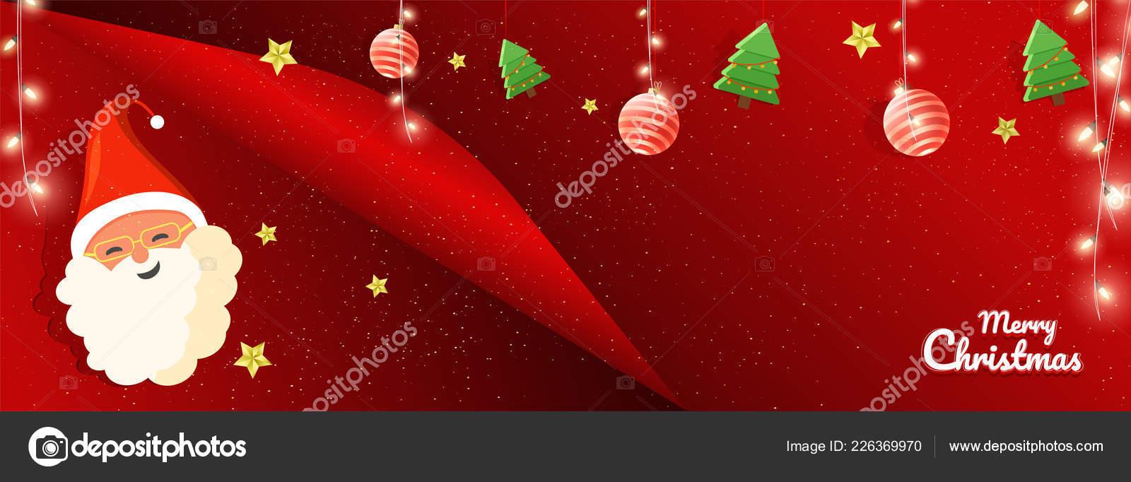 Curl Paper Style Website Header Banner Design Cute Santa Face ...