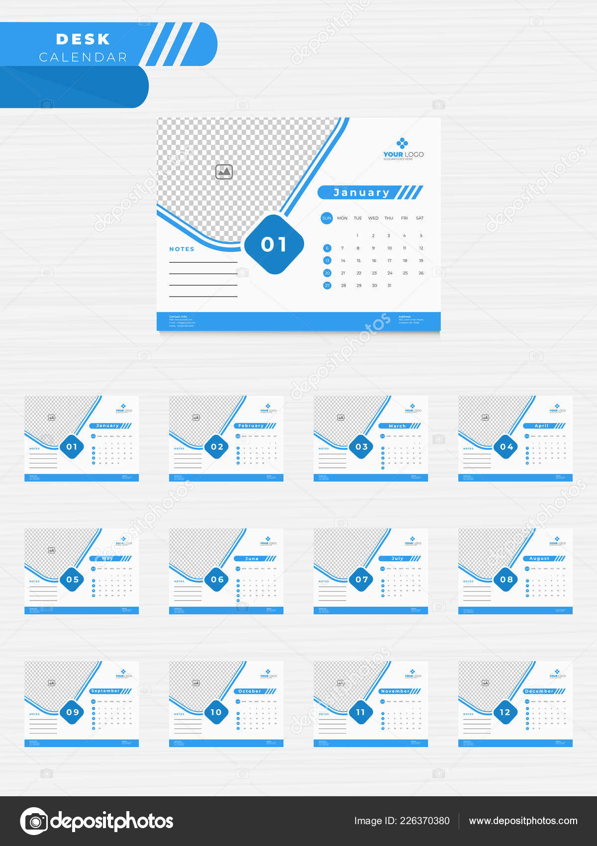 Yearly Calendar Design Set Months Desk Planner Space Your Image