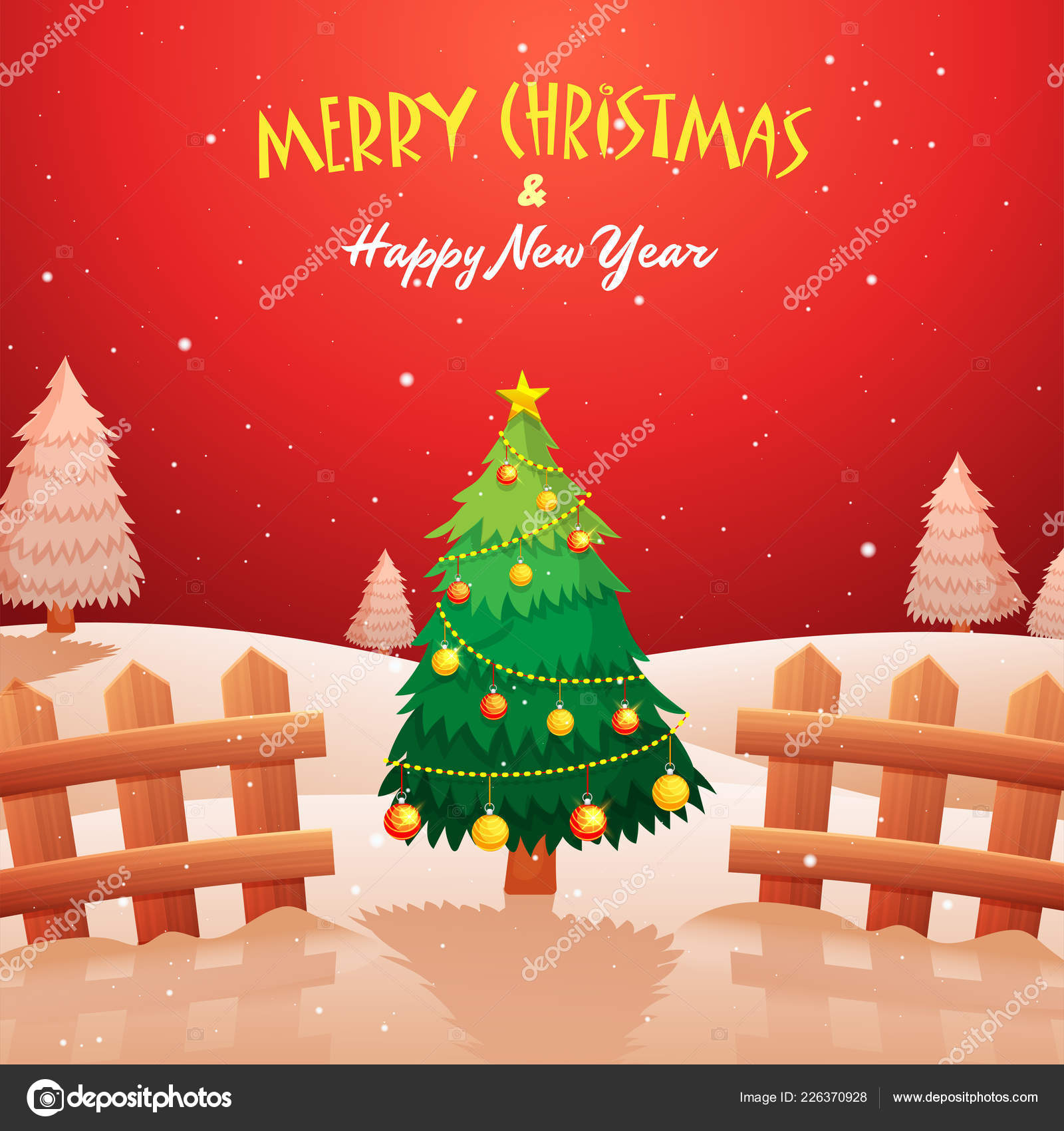 Merry Christmas Happy New Year Celebration Greeting Card Design ...