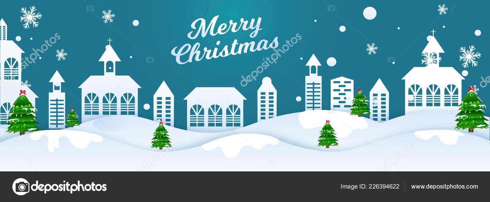 merry christmas header banner design paper cut style winter