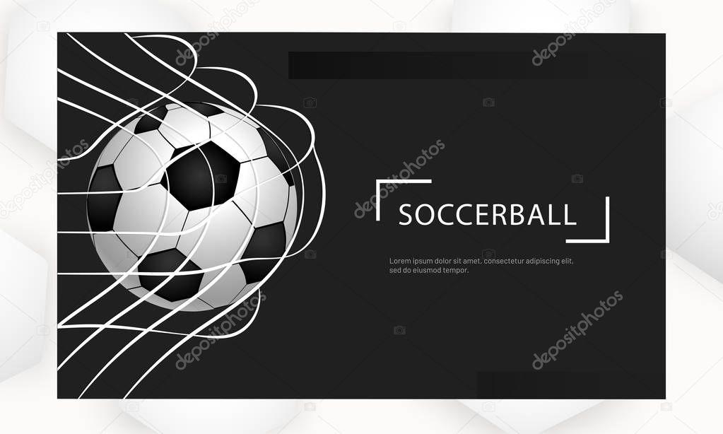 Realistic Football In Net On Black Background For Soccer Tournament Concept Based Poster Or Banner Design Premium Vector In Adobe Illustrator Ai Ai Format Encapsulated Postscript Eps Eps Format
