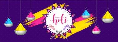Hanging color bowls on purple background for holi festival header or banner design.