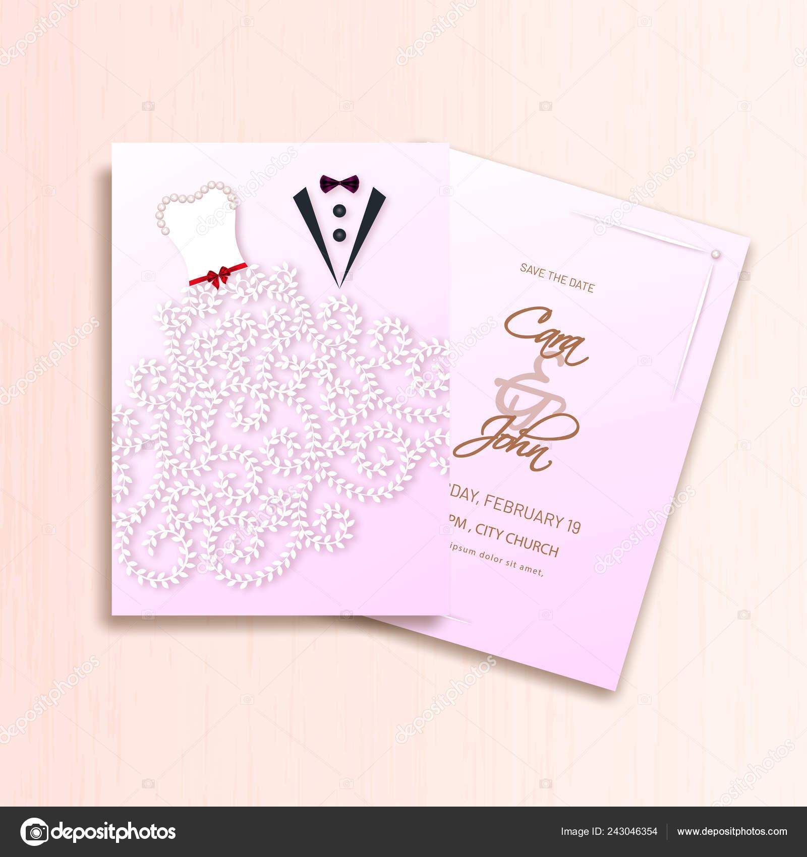 Creative Wedding Invitation Card Template Design Groom Bride