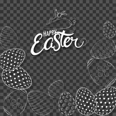Doodle illustration of easter eggs decorated on black transparent background for Happy Easter celebration.