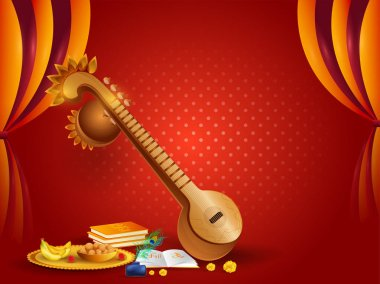 Veena instrument and religious offerings illustration on red curtain background. Can be used as poster or greeting card design.