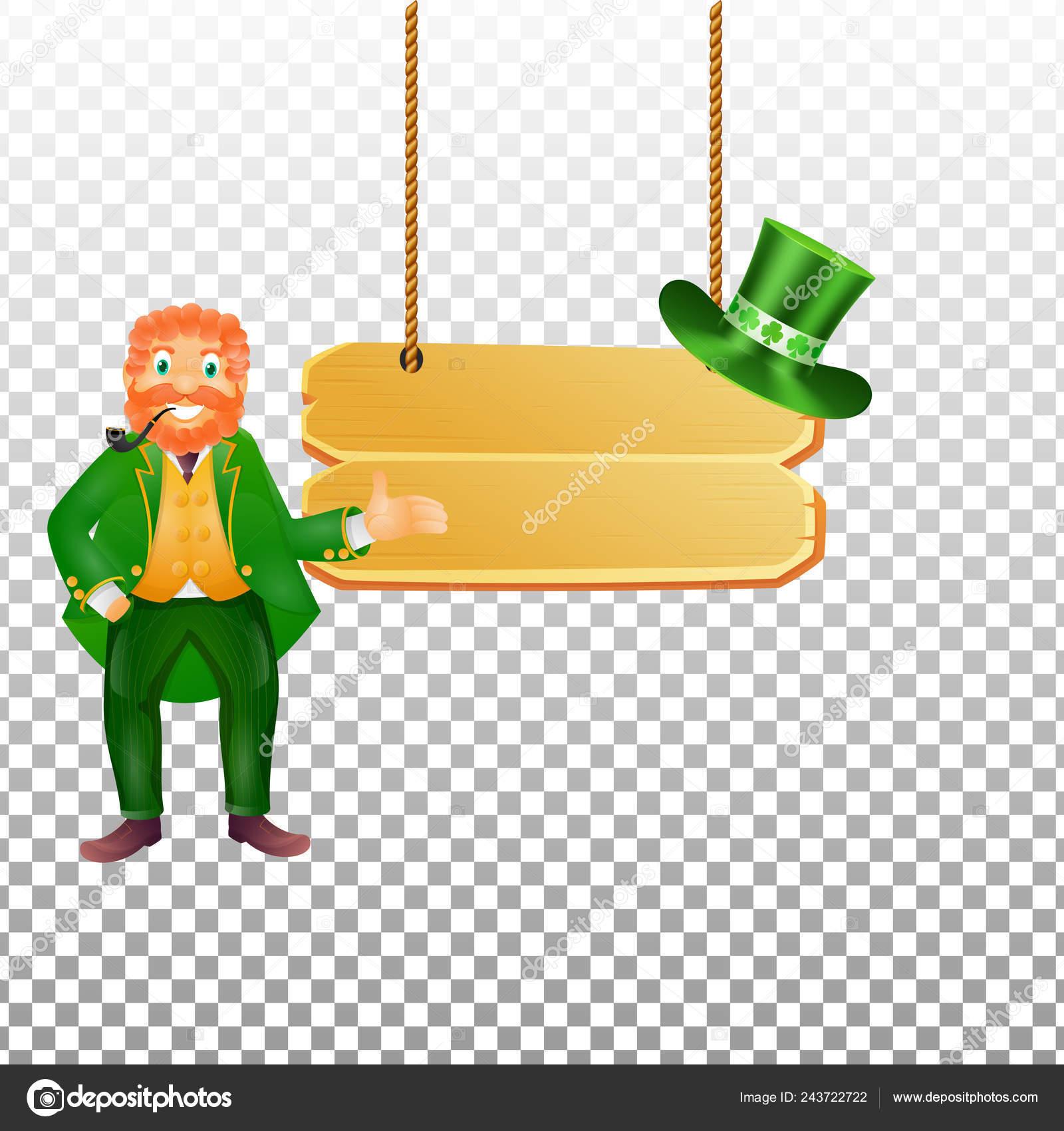 Happy Leprechaun Man Character Hanging Wooden Board Transparent