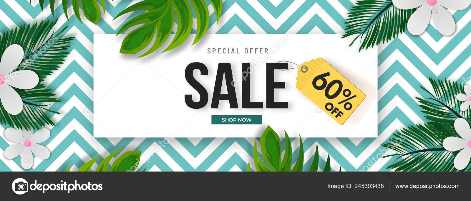 Advertising Sale Banner Header Design Discount Offer Tropical Leaves Flowers Stock Vector C Alliesinteract 245303438 This free watercolor tropical leaves can be good for creating designers portfolio as well. https depositphotos com 245303438 stock illustration advertising sale banner header design html