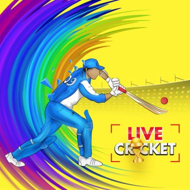 Live cricket poster or flyer design with illustration of cricket batsman hitting ball pose on paint stroke background. stock vector