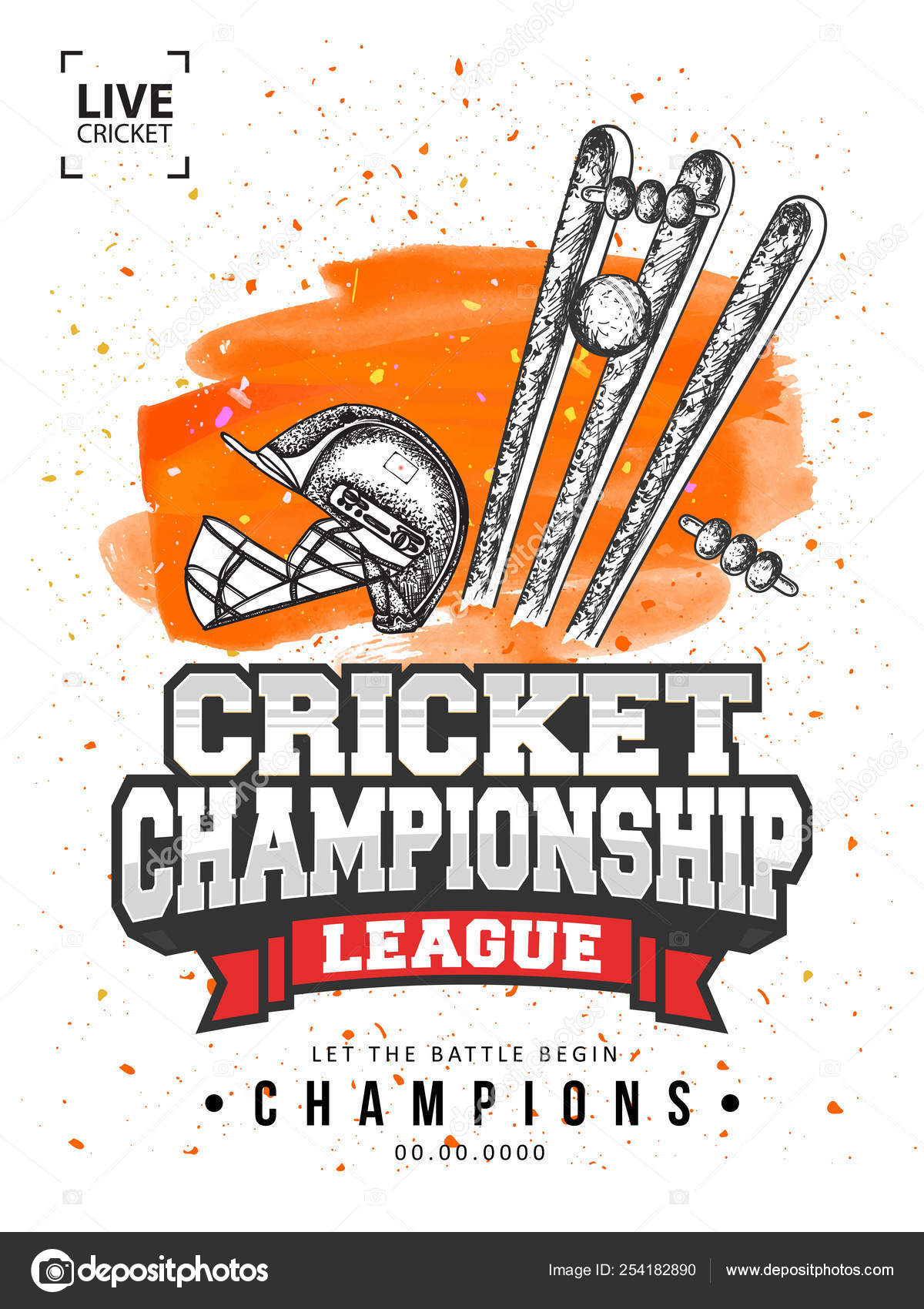 Live Cricket Championship League template or flyer design