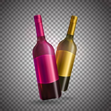 Realistic wine bottles in pink and golden color on transparent b