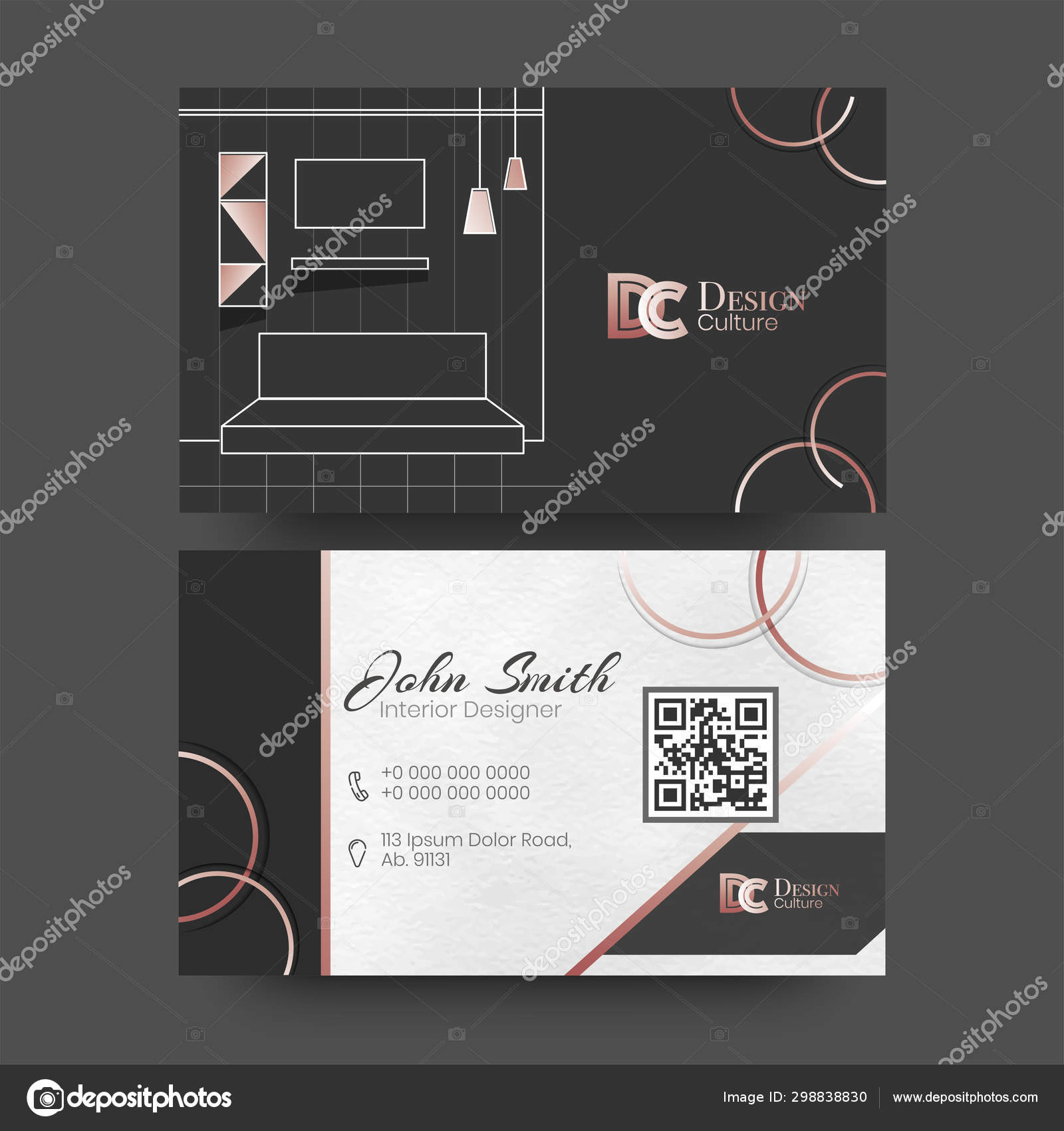 Front And Back View Of Business Card Or Visiting Card Design For Interior Designer Stock Vector C Alliesinteract 298838830