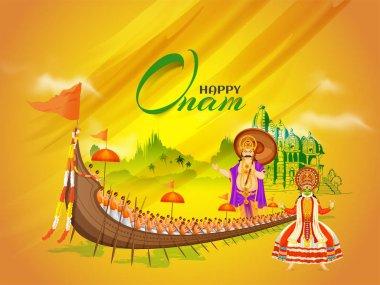 Beautiful Happy Onam festival poster or banner design with illus