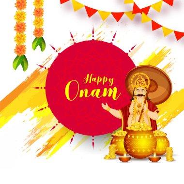Happy Onam celebration greeting card or poster design with illus