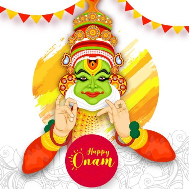 Illustration of Kathakali dancer and bunting flags decorated on