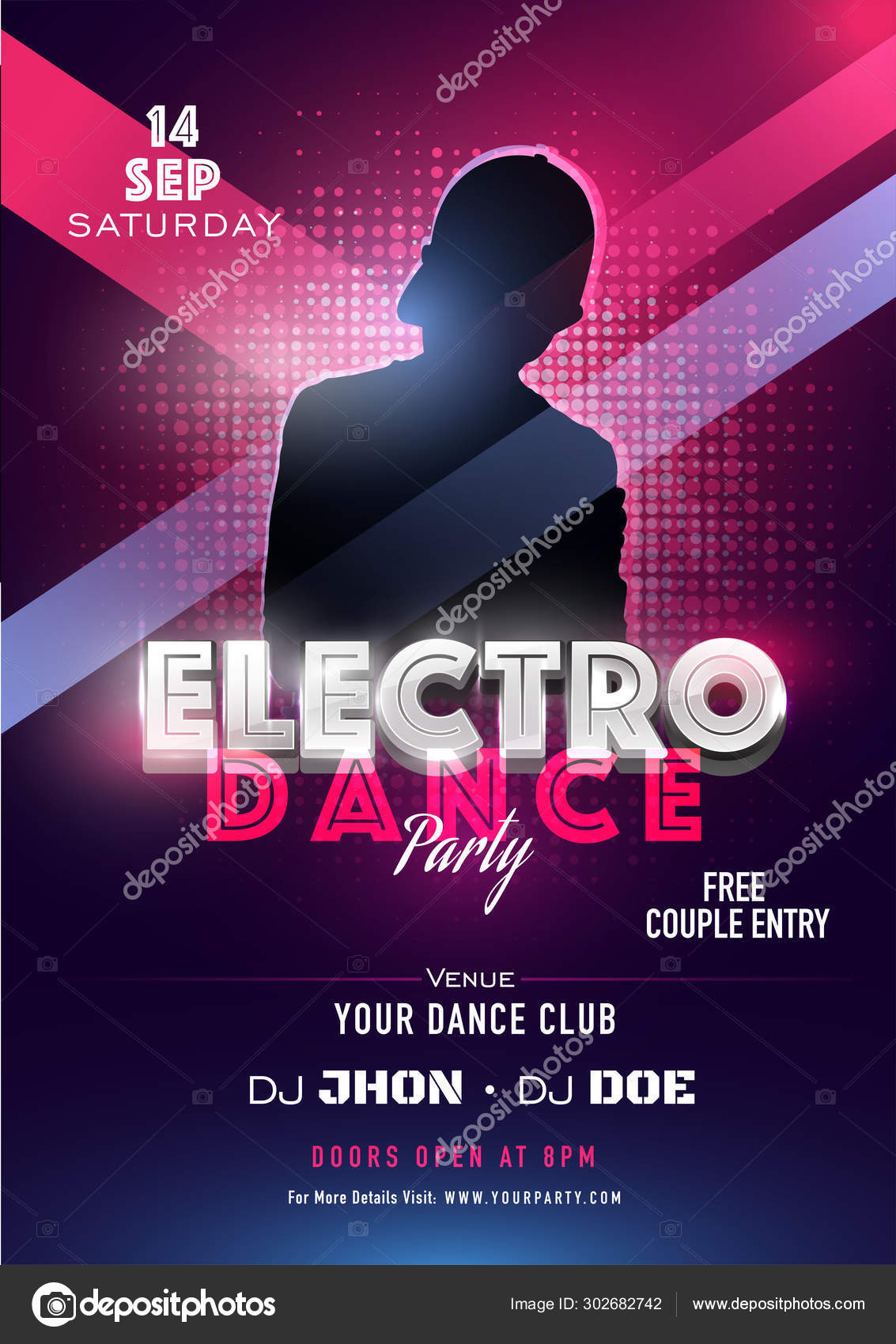 Electro Dance Party Invitation Card Design With Silhouette