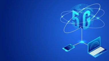 International worldwide 5G data internet network service concept
