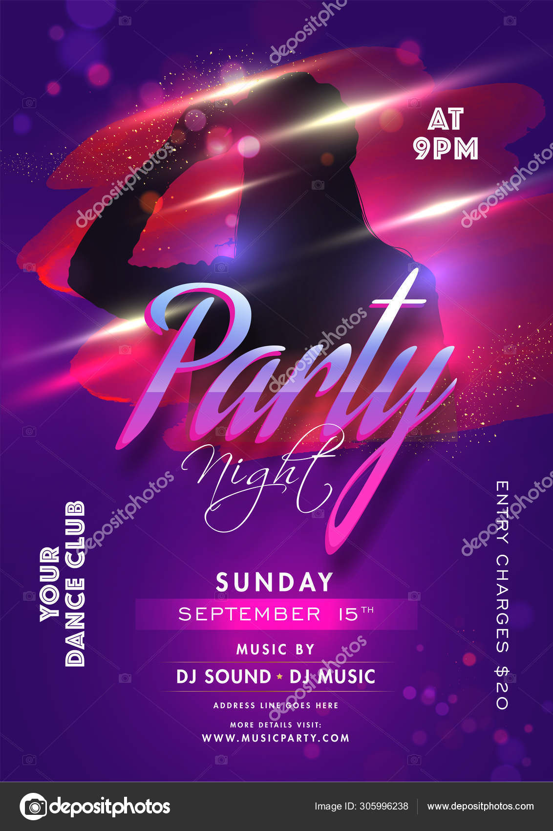 Night Party Invitation Card Design With Silhouette Female