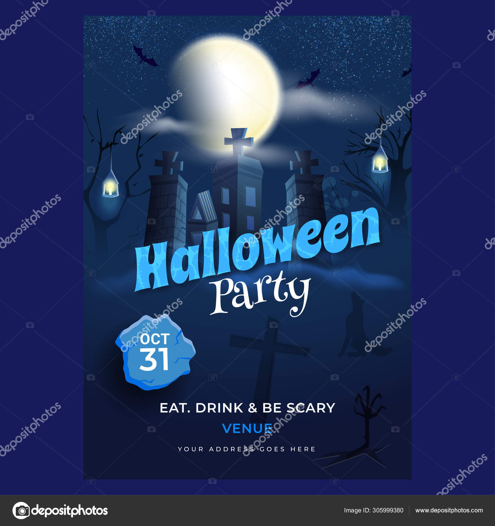 Halloween Party Invitation Card Design With Haunted House