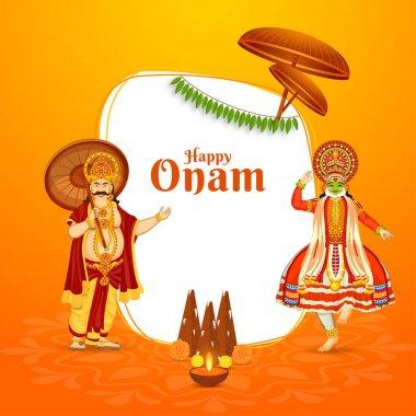 Illustration of King Mahabali with Classical Kathakali Dancer, Thrikkakara Appan Idol and Illuminated Oil Lamp (Diya) on Orange and White Background for Happy Onam Celebration.