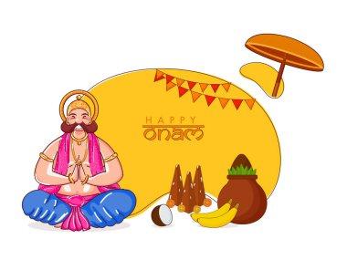 Illustration of Happiness King Mahabali Doing Namaste in Sitting Pose with Thrikkakara Appan Idol, Fruits and Worship Pot (Kalash) on Yellow and White Background for Happy Onam.