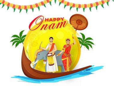 Illustration of South Indian Drummer with Classical Dancer Woman, Elephant, Aranmula Boat, Palm Trees and Maveli Olakkuda (Umbrella) for Happy Onam Concept.