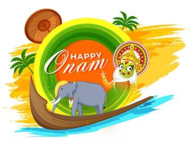 Happy Onam Font with Kathakali Dancer Drinking Coconut Water, Aranmula Boat, Elephant and Maveli Olakkuda (Umbrella) on Colorful Brush Stroke Background.