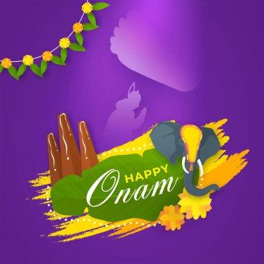 Happy Onam Font in Banana Leaf with Elephant Face, Thrikkakara Appan Idol, Flowers, Yellow Brush Stroke Effect and Vamana Leg on King Mahabali.