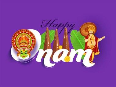 Happy Onam Font with King Mahabali, Kathakali Face, Banana Leaves, Flowers and Thrikkakara Appan Idol on Purple Background.
