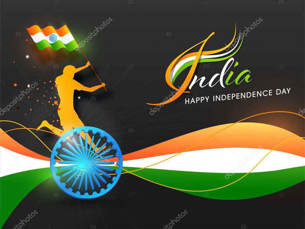 India Happy Independence Day Concept With Silhouette Man Holding A Indian Flag 3d Ashoka Wheel And Tricolor Abstract Waves On Black Background Premium Vector In Adobe Illustrator Ai Ai