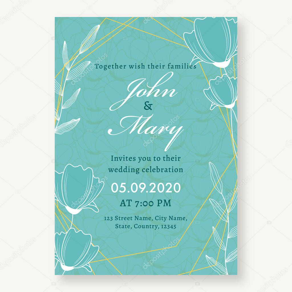 Floral Wedding Invitation Card Design In Turquoise Color With Event Details Premium Vector In Adobe Illustrator Ai Ai Format Encapsulated Postscript Eps Eps Format