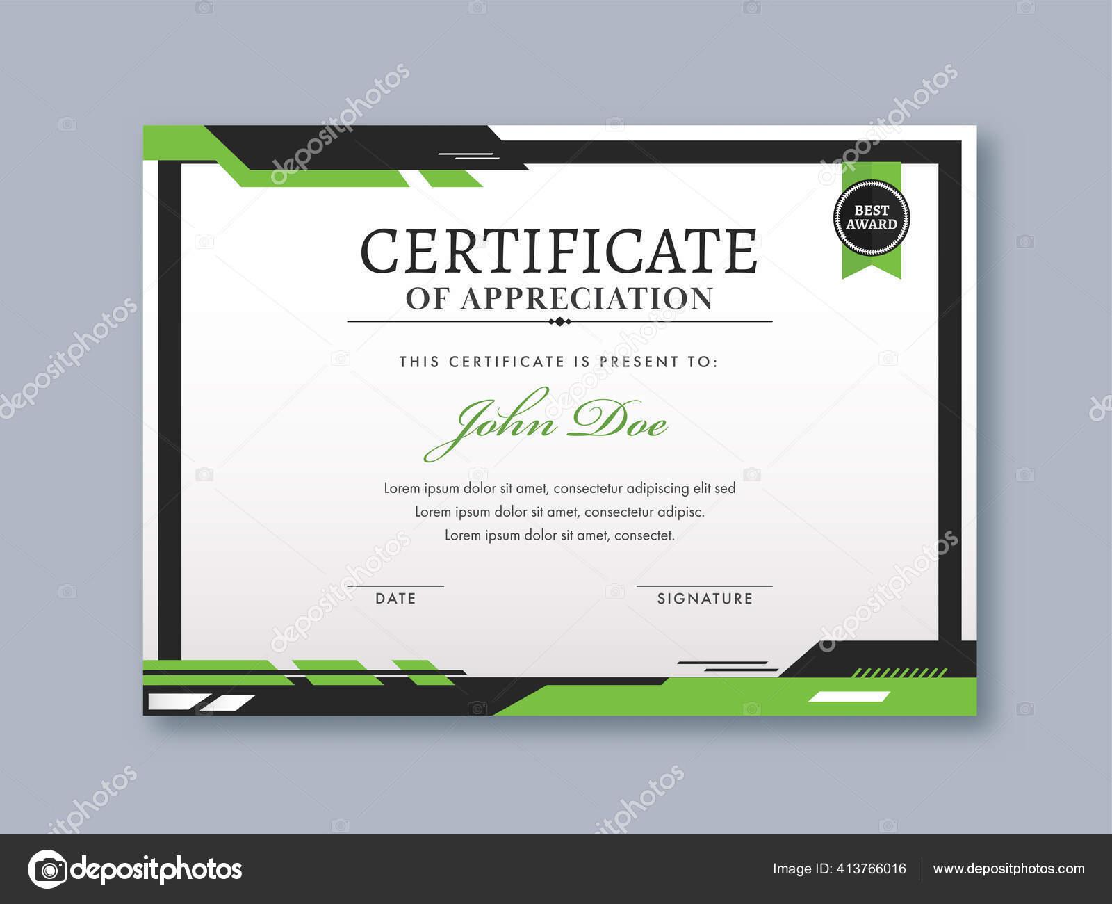 Appreciation Certificate Template Design White Green Color Vector Image By C Alliesinteract Vector Stock 413766016